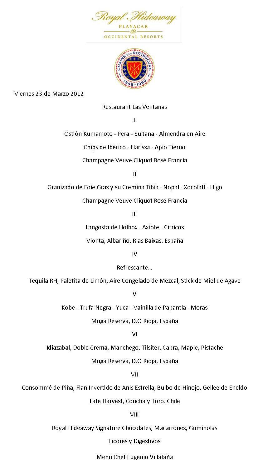 Cena degustaci n la chaine des rostisseurs anfitri n for Menu de cenas