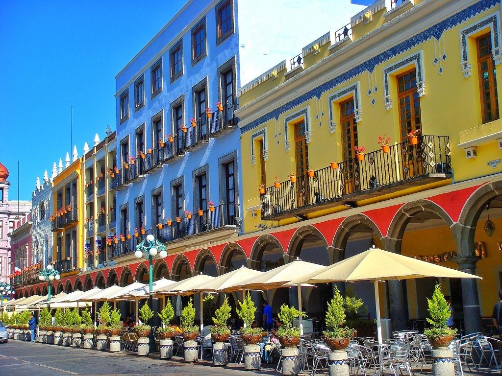 Portales en el Centro Histórico de Puebla